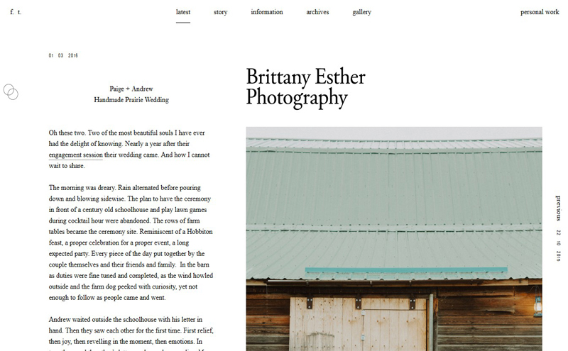 Best Photography Websites // Brittany Esther